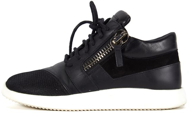 GIUSEPPE ZANOTTI Black Leather Suede Metallic Mesh Front Lace-Up Sneakers