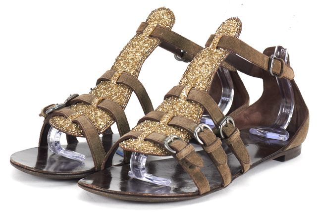 GIUSEPPE ZANOTTI Olive Green Suede Gold Glitter Embellished Flat Sandals