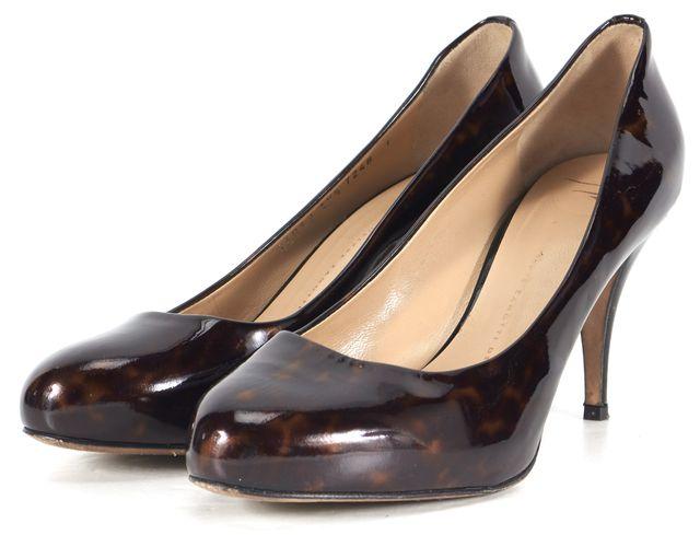 GIUSEPPE ZANOTTI Brown Tortoise Patent Leather Pump Heels