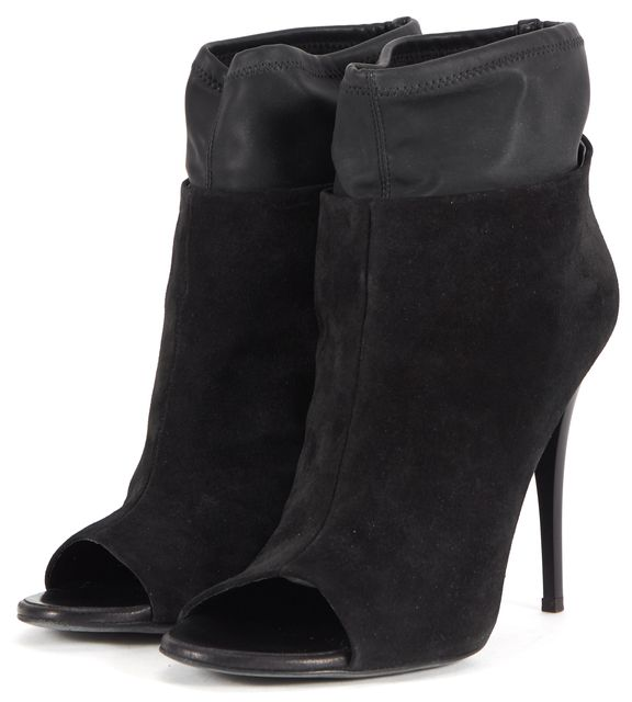 GIUSEPPE ZANOTTI Black Leather Tubo Open Toe Bootie Heels