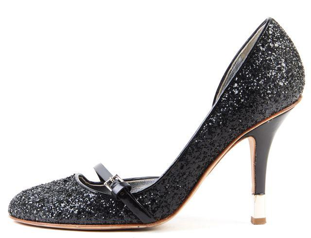 GIUSEPPE ZANOTTI Black Glitter Patent Leather Trim Mary Jane Heels