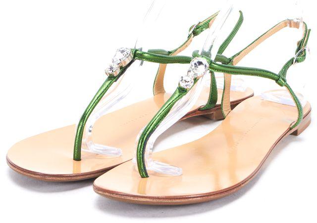 GIUSEPPE ZANOTTI Green Leather Crystal Embellished Flat T-Strap Sandals