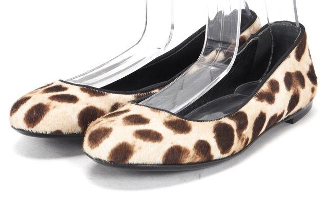 GIUSEPPE ZANOTTI Beige Brown Leopard Print Calf-Hair Ballet Flats