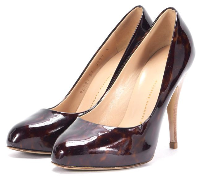 GIUSEPPE ZANOTTI Brown Tortoiseshell Patent Leather Heels