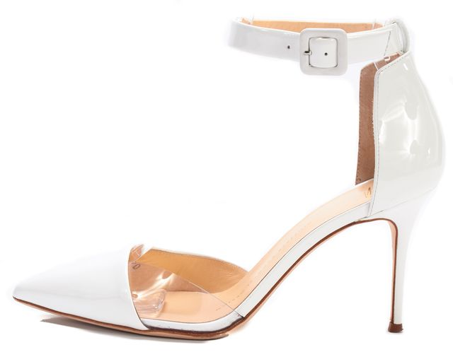 GIUSEPPE ZANOTTI White Patent Clear d'Orsay Ankle Strap Heels