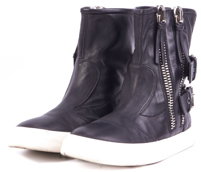 GIUSEPPE ZANOTTI Black Zip Up Leather Sneakers
