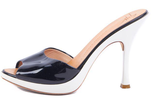 GIUSEPPE ZANOTTI Black and White Gloss Leather Slip-on Heels