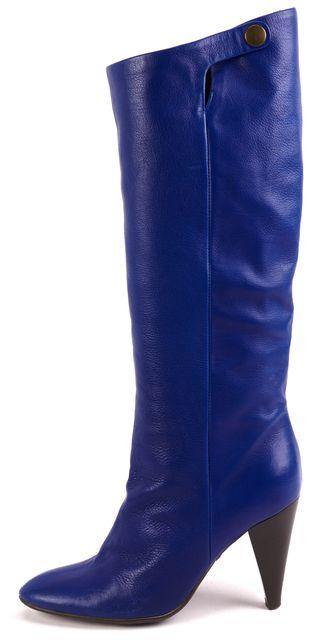 GIUSEPPE ZANOTTI Blue Leather Fur Lined Mid-Calf Boots