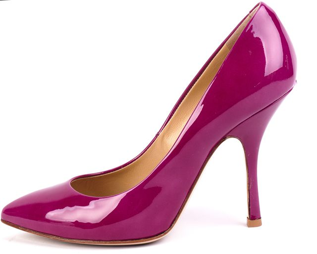 GIUSEPPE ZANOTTI Magenta Purple Patent Leather Pointed Toe Heels