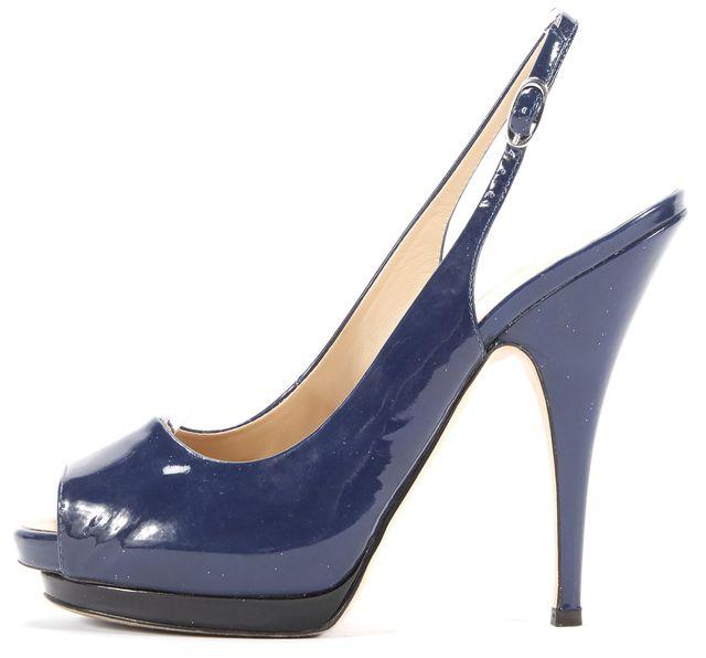GIUSEPPE ZANOTTI Blue Peep Toe Sling Back Patent Leather Heels