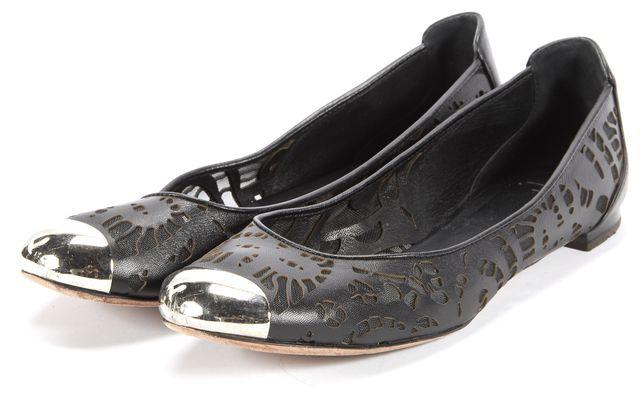 GIUSEPPE ZANOTTI Black Cutout Leather Silver Metal Toe Flats