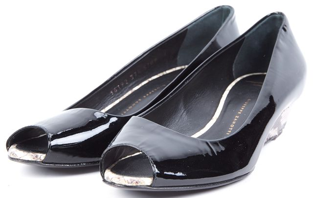 GIUSEPPE ZANOTTI Black Beige Snake Print Patent Leather Flats