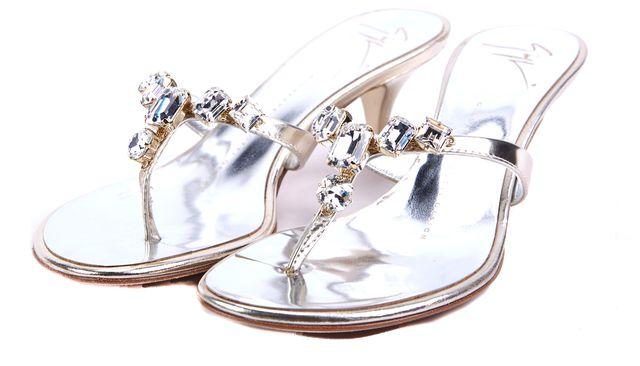 GIUSEPPE ZANOTTI Gold Crystal Embellished Sandal Heels