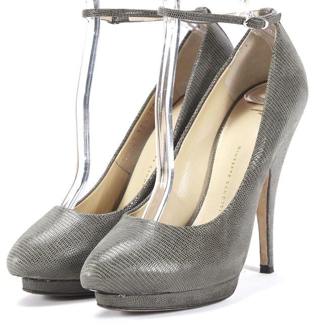 GIUSEPPE ZANOTTI Gray Textured Suede Ankle Strap Platform Heels