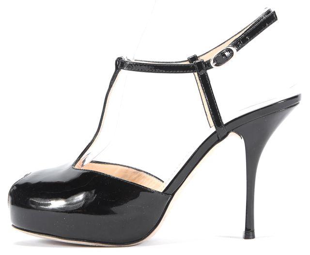 GIUSEPPE ZANOTTI Black Patent Leather T-Strap Heels Size US 8.5 IT 38.5