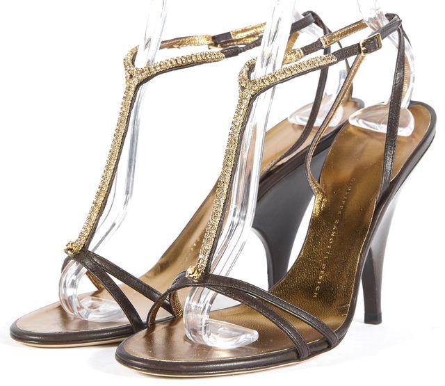 GIUSEPPE ZANOTTI Brown Gold Embellished Leather Slingback Heels Size 9.5 IT 39.5