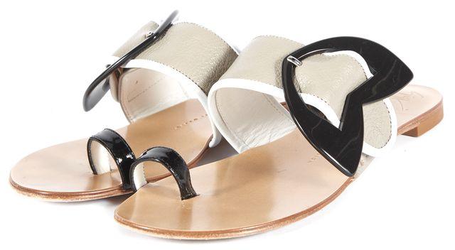 GIUSEPPE ZANOTTI Gray Colorblock Leather Toe Ring Slide Sandals