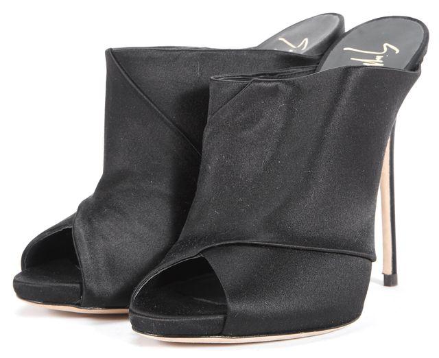 GIUSEPPE ZANOTTI Black Slip-on Peep-Toe Heels