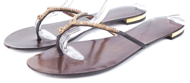 GIUSEPPE ZANOTTI Gold Embellished Leather T Strap Sandals