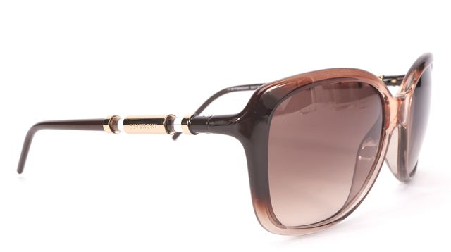 GIVENCHY Brown Clear Acetate Frame Gradient Lens Sunglasses w/ Case
