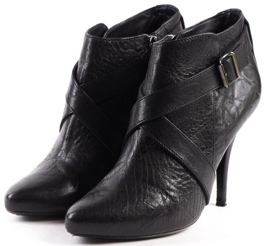GIVENCHY Black Leather Pointed-toe Criss-cross Buckle Ankle Booties