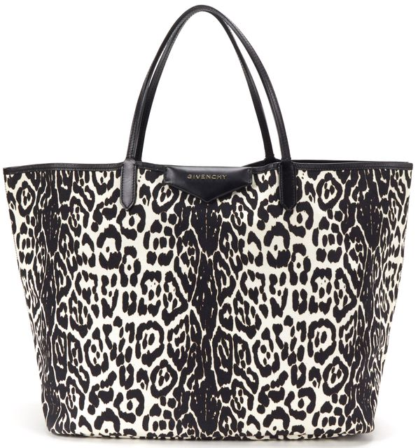 GIVENCHY Black White Leopard Print Canvas Large Tote Handbag w/ Pouch