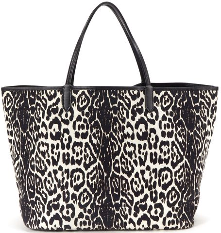 GIVENCHY Black White Leopard Print Canvas Large Tote Handbag w/ Pouch