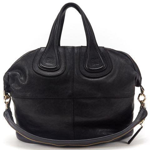 GIVENCHY Black Leather Nightingdale Tote Handbag