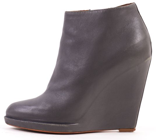 GIVENCHY Gray Leather Pointed Toe Wedge Ankle Boots