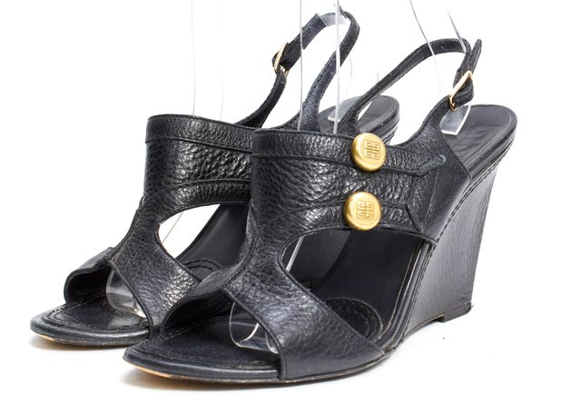 GIVENCHY Black Leather Gold Accent Wedge Sandal Heels