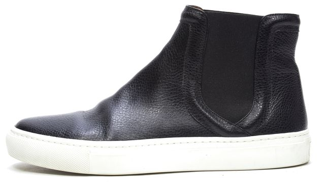 GIVENCHY Black Leather Elastic Round Toe High Top Sneakers