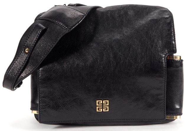 GIVENCHY Authentic Black Textured Leather Flap Shoulder Bag