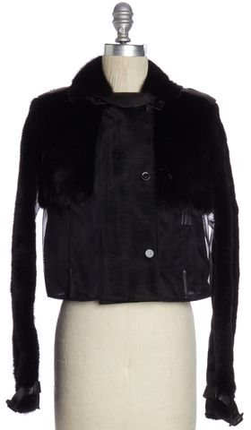 GIVENCHY Black Mink Fur Mesh Moto Military Style Jacket