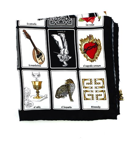 GIVENCHY Black White Silk Tarot Cards Scarf