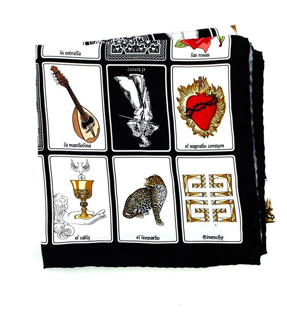 GIVENCHY Black White Silk Tarot Cards Scarf