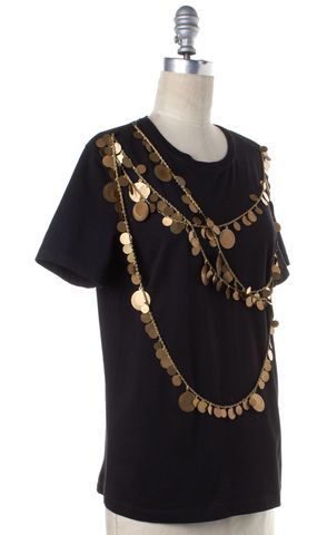 GIVENCHY Black Brass Chain Embellished Short Sleeve T-Shirt