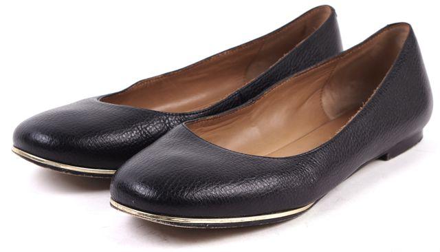 GIVENCHY Black Leather Gold Trim Ballet Flats