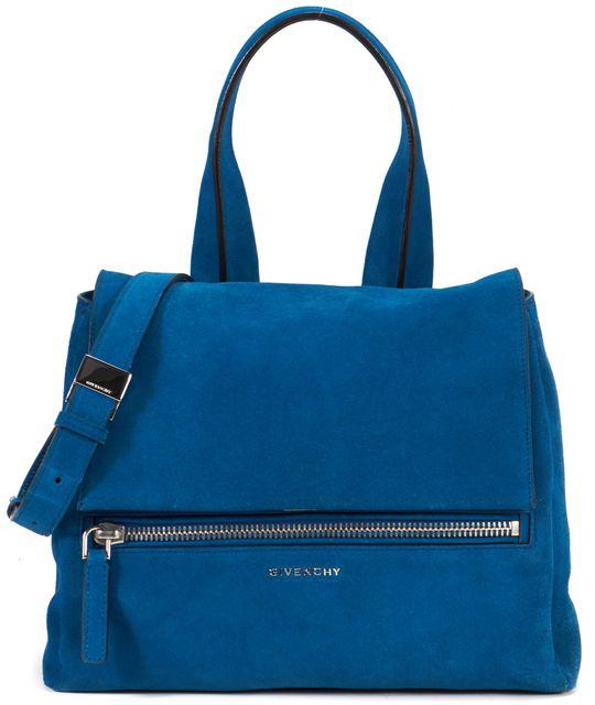 GIVENCHY Electric Blue Suede Pandora Pure Satchel Top Handle Bag
