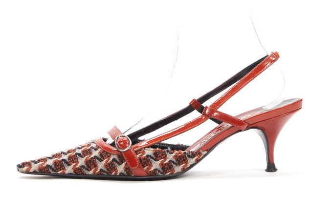 GIVENCHY Brown Black Woven Pointed Slingback Heels