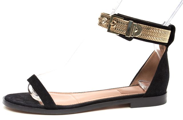 GIVENCHY Black Suede Leather Gold Tone Hardware Ankle Strap Sandals