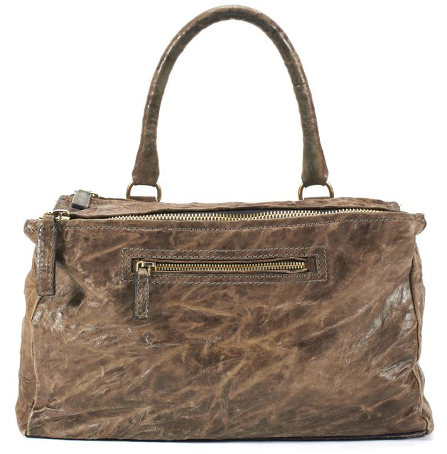 GIVENCHY Brown Washed Textured Leather Pandora Top Handle Satchel Bag