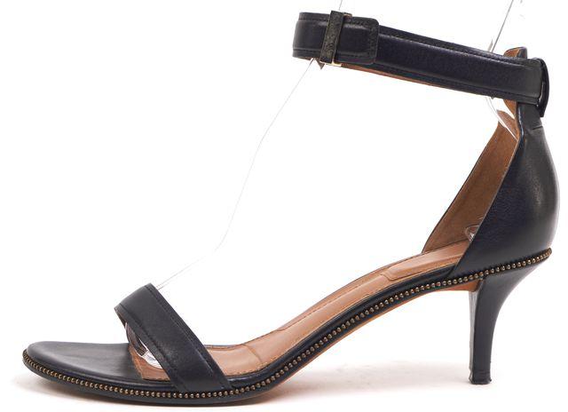 GIVENCHY Black Zipper Trim Casual Ankle Strap Kitten Heel Pump Sandal