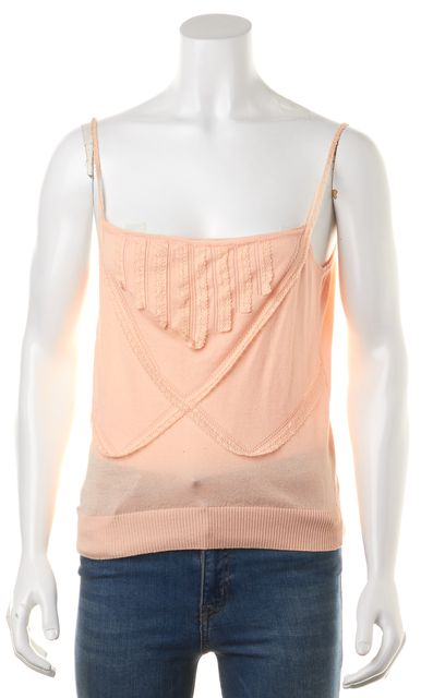 GIVENCHY Pink Peach Cotton Knit Lace Trim Spaghetti Strap Tank Top