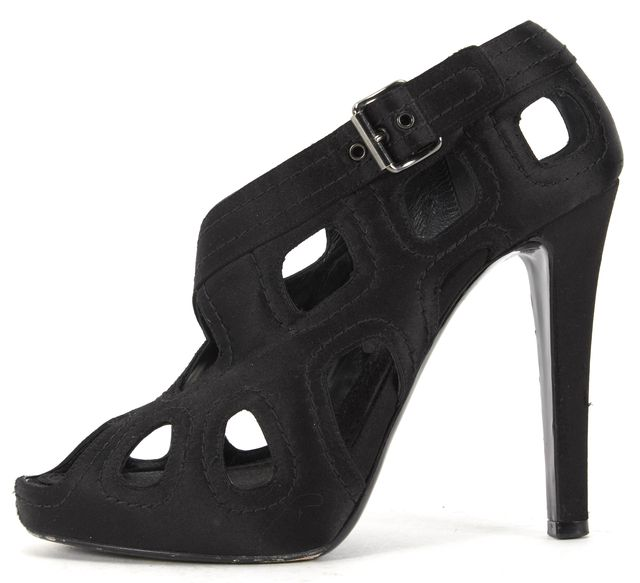 GIVENCHY Black Satin Perforated Cut-Out Peep Toe Bootie Heels