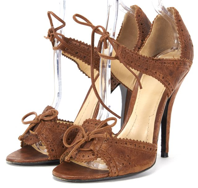 GIVENCHY Brown Leather Lace Front Sandal Heels