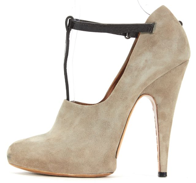 GIVENCHY Gray Brown Suede Leather Pointed Toe T-Strap Platform Shoes