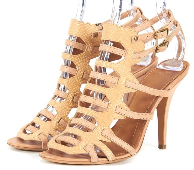 GIVENCHY Beige Leather Snake Embossed Caged Ankle Strap Sandal Heels
