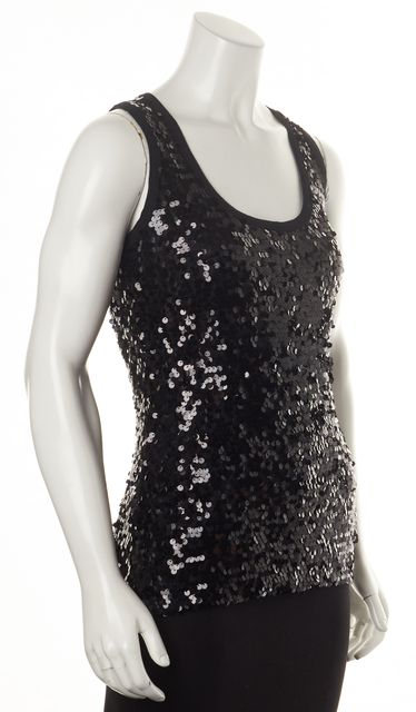 GIVENCHY Black Sequin Embellished Sleeveless Blouse Top