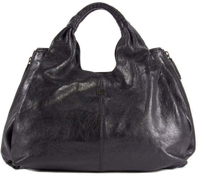 GIVENCHY Black Leather Double Zip Elsa Top Handle Tote Shoulder Bag