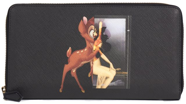 GIVENCHY Black Saffiano Leather Bambi Printed Continental Wallet